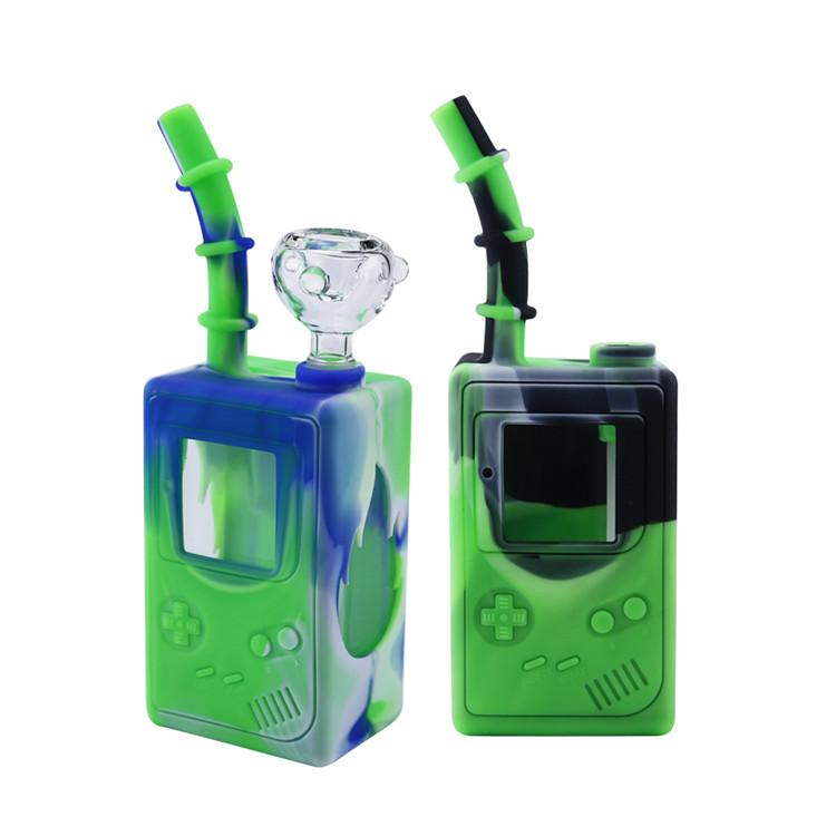 Games Player Box Square Shape pipe tobacco silicone water bong herb vaporizer dab rig with glass bowl oil burner hookah pipes DHC1545