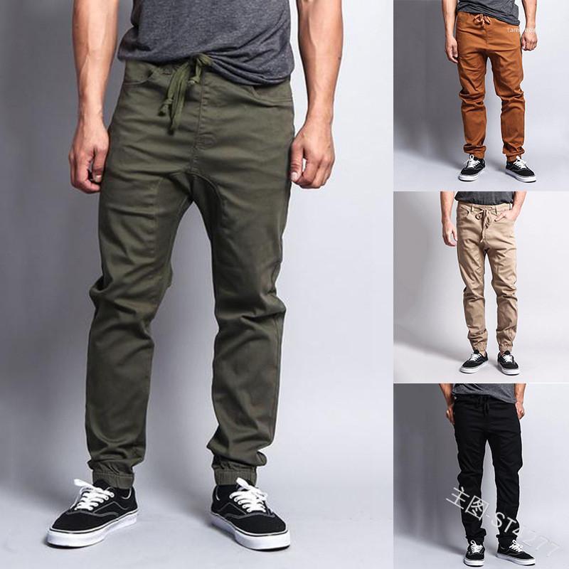 Solta cordão lápis calças dos homens Calças Casual Jogger Calças Mens Ankle Banded Carga Casual cor sólida
