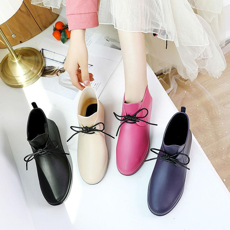 Водонепроницаемые ботинки новых женщин дождя сапоги Короткие трубки Весна Осень обувь Резиновые цвета конфеты с низким верхом дождь Мода галоши