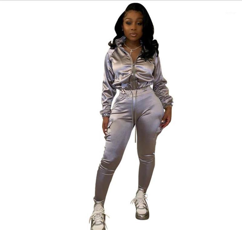 Damen Strickjacke mit Reißverschluss Kleidung Womens Designer Mode für Frauen Anzug beiläufige Soild Farbe Zweiteiler