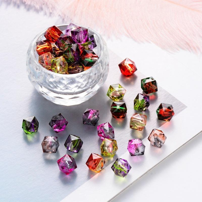 100pcs/lot 15colors polygon cube Acrylic beads 8mm DIY lucite plastic beads for jewelry and bag making jewelry pendant