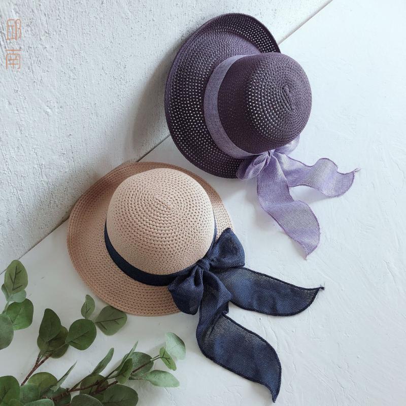 Neue Art und Weise flache Sonnenhut Frauen-Sommer-Bogen Strohhut für Frauen Strand Kopfbedeckung 6Colors Chapeau Geschenk femme