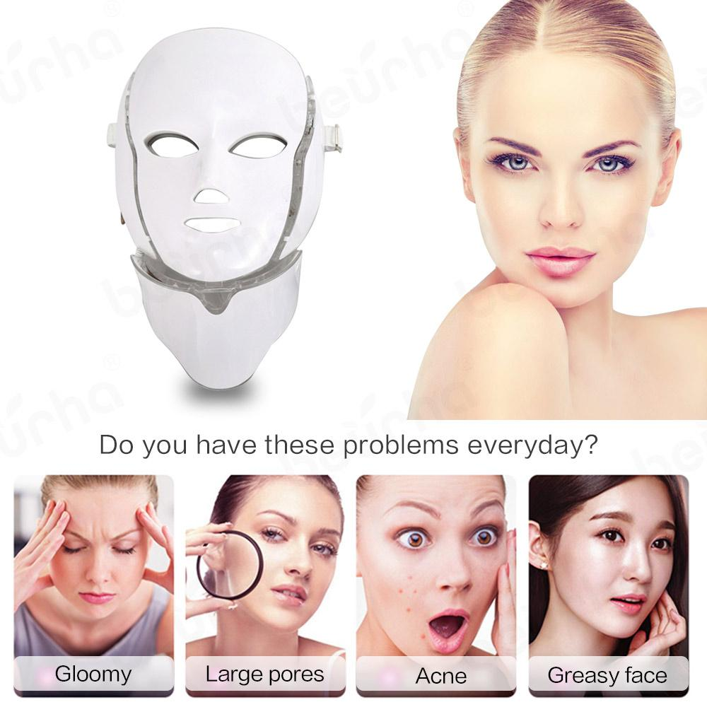 7 Colors LED Facial Mask Beauty Skin Rejuvenation Photon Light Face Mask with Neck Therapy Wrinkle Acne Tighten Skin Tool