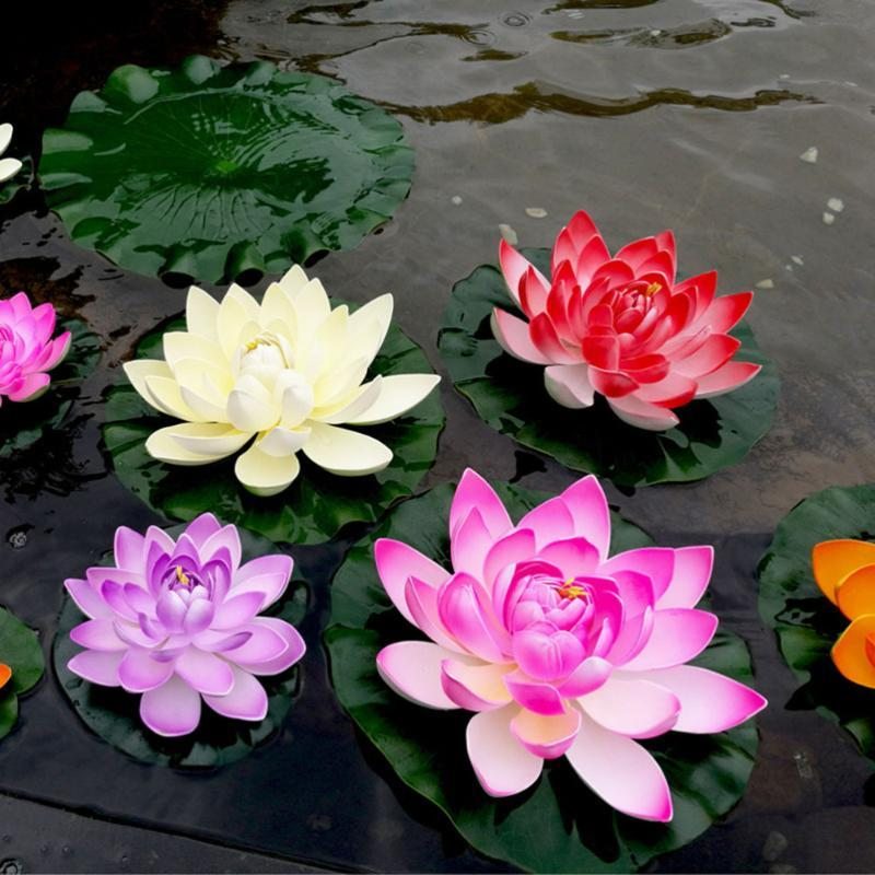 5Pcs artificiale galleggiante Ninfea EVA Lotus Flower Pond Decor 10cm (rosso / giallo / blu / rosa / rosa chiaro)