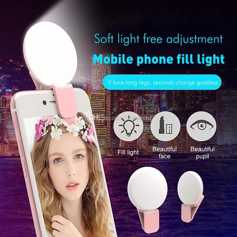 Mini Q selfie Ring Light LED recarregável luz Flash Lâmpada para fotografia noturna Fill Clipe Luz USB do telefone móvel para iPhone Samsung barato