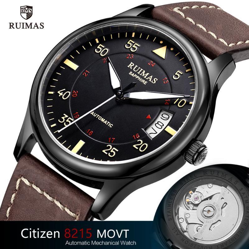 Montre-bracelet ruimas de luxe montres mécaniques de luxe hommes bracelet en cuir lumineux montre-bracelet de montre-bracelet homme sport sport watch
