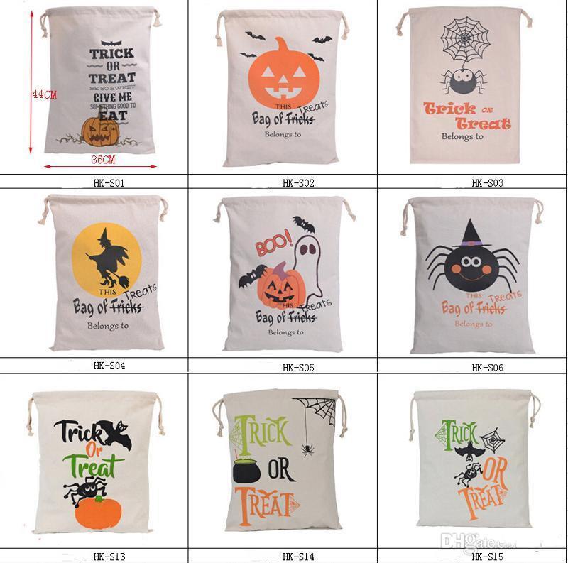 Gift Bag fascio di Halloween Candy Bag Pumpkin Head regalo Cotone grande capacità Decorazioni di Halloween Canvas Bag