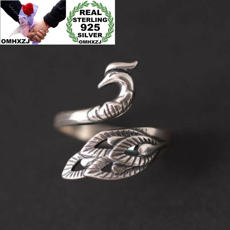 OMHXZJ Оптовая RR1182 Европейская мода прекрасная женщина девушка день рождения подарка венчания Phoenix Peacock 925 Серебряное кольцо