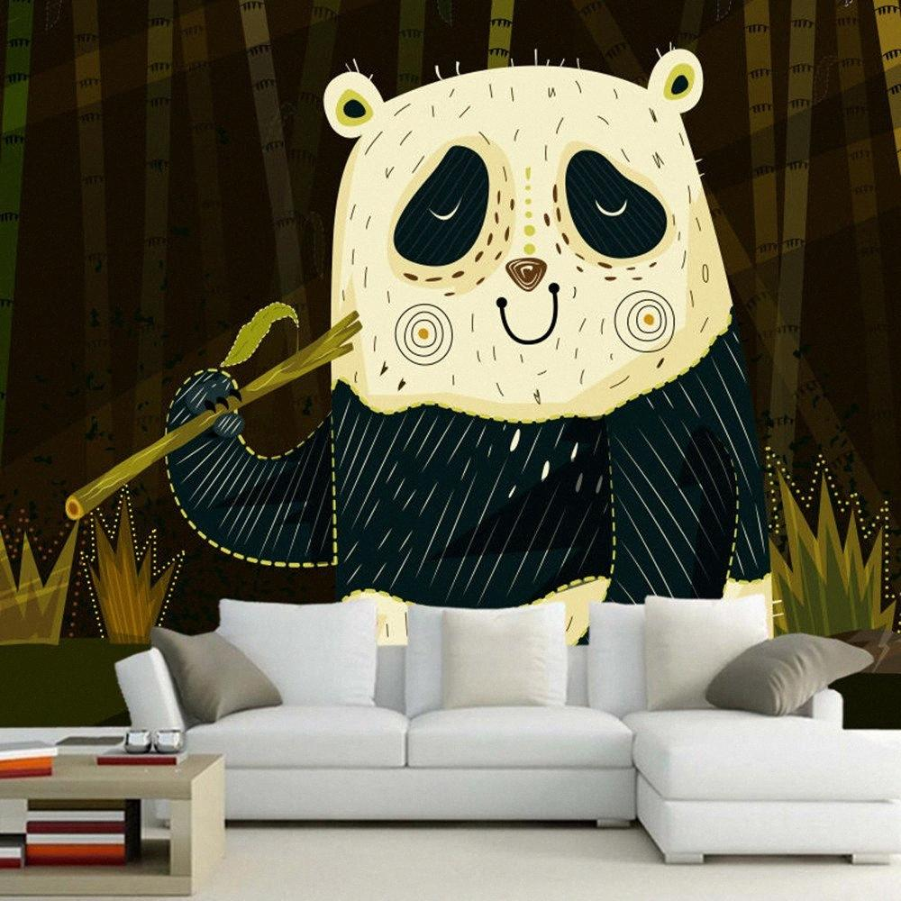 Papel De Parede Auszugs-Cartoon Panda Chidren 3D Wallpaper Mural, Livingom Sofa TV-Wand Schlafzimmer-Wand-Papers Home Decor Fotos A cjjF #