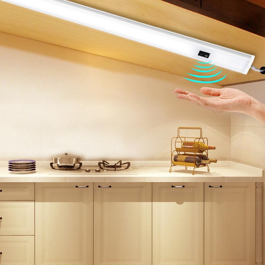 LED에서 내각 조명 핸드 스윕 센서 (30) (40) 50cm DC 12V 높은 루멘 다이오드 LED 밤 램프 용 주방 침실 옷장