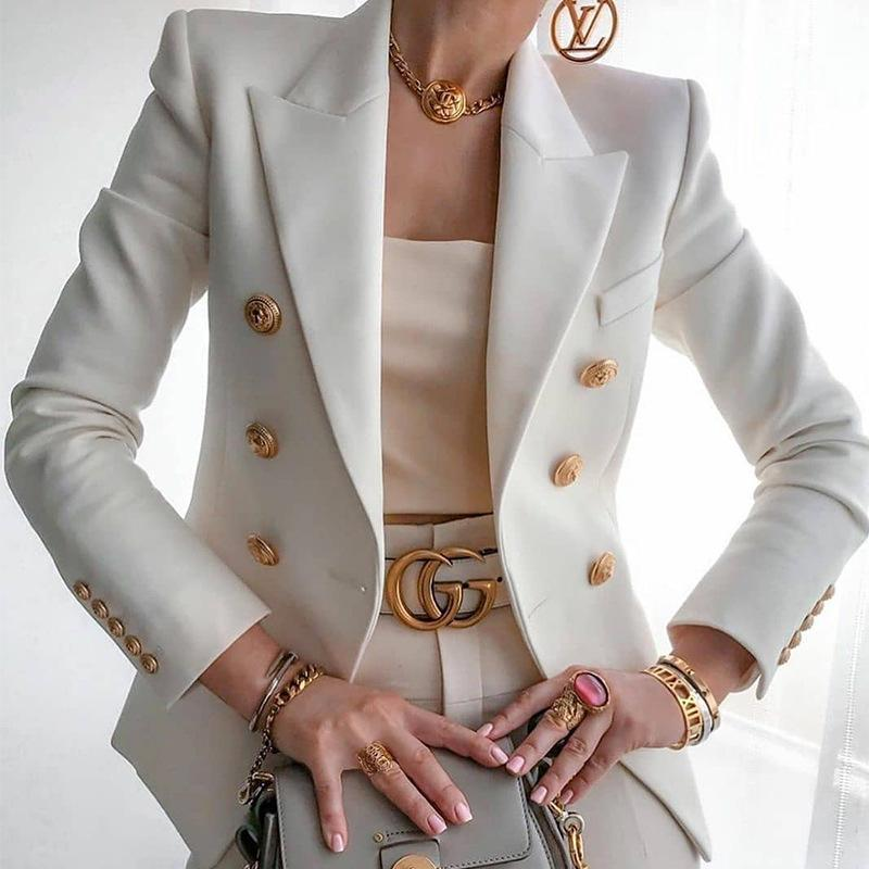 2020 Hot Sale Solid Color Double Breasted Women Blazer Fashion Suit Collar Long Sleeve Slim Blazer