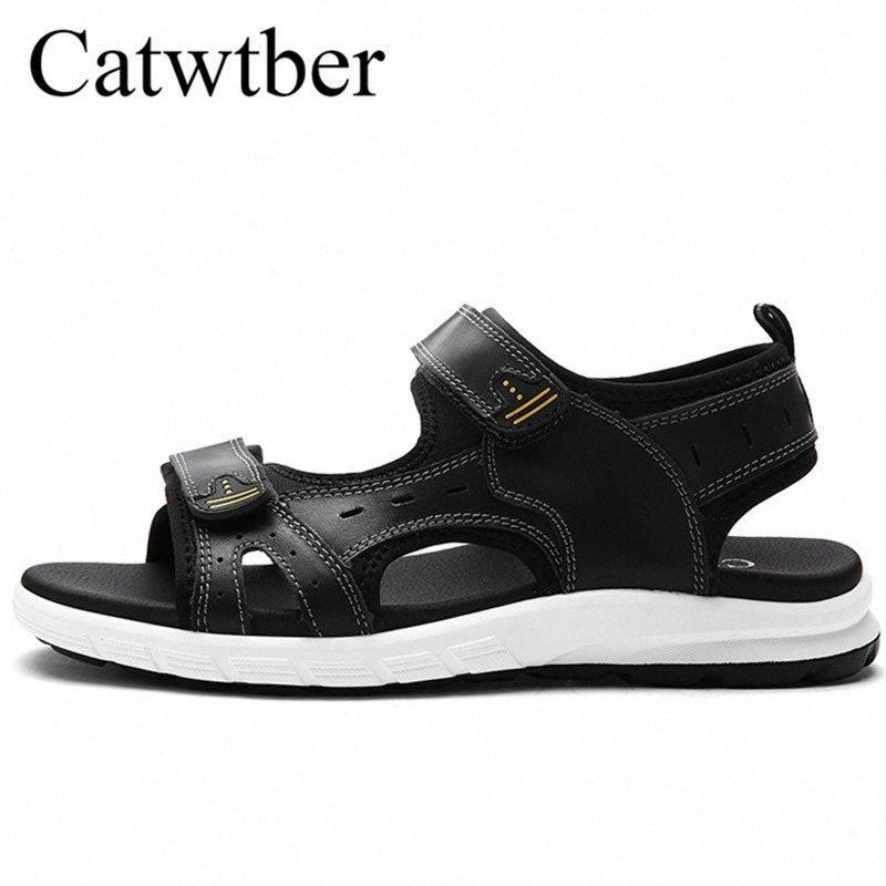 Catwtber Novos sapatos de couro Men Praia Sandals Masculino respirável Unisex Flats Casal Comfort Causal Homens Verão Loafer Zapatos Hombre d59I #