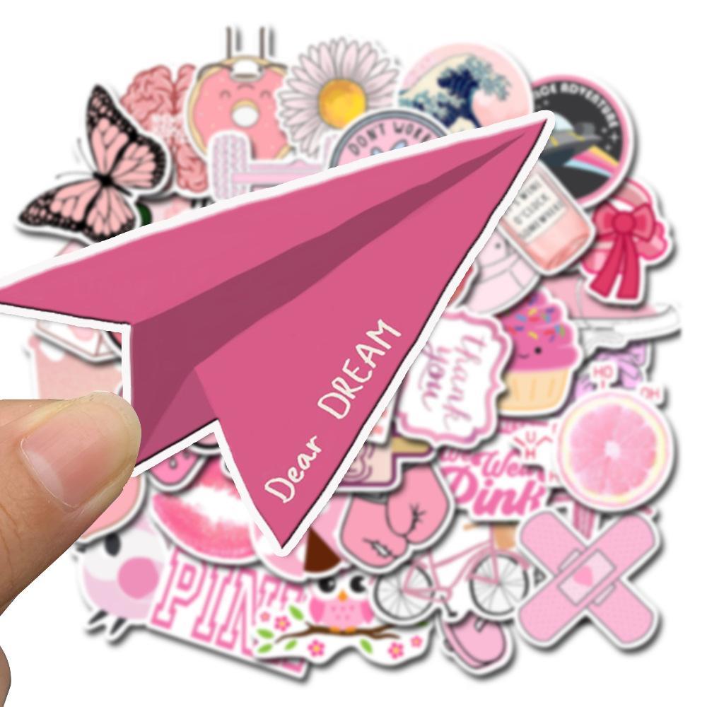 2020 nuevos productos 50 no repetitivas lindo color rosa pequeños frescos pegatinas de viento VSCO equipaje portátil de graffiti pegatinas impermeable