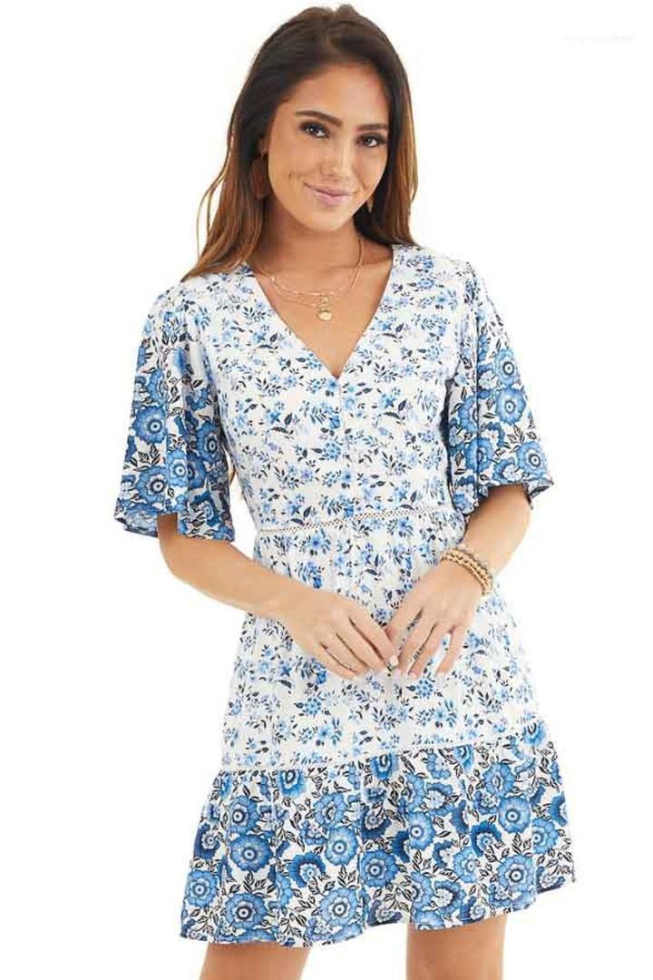 Ropa para mujer diseñador ocasional vestido de cuello en V flora impresa la hoja del loto vestidos de verano de la manera manga de Bell Mujer