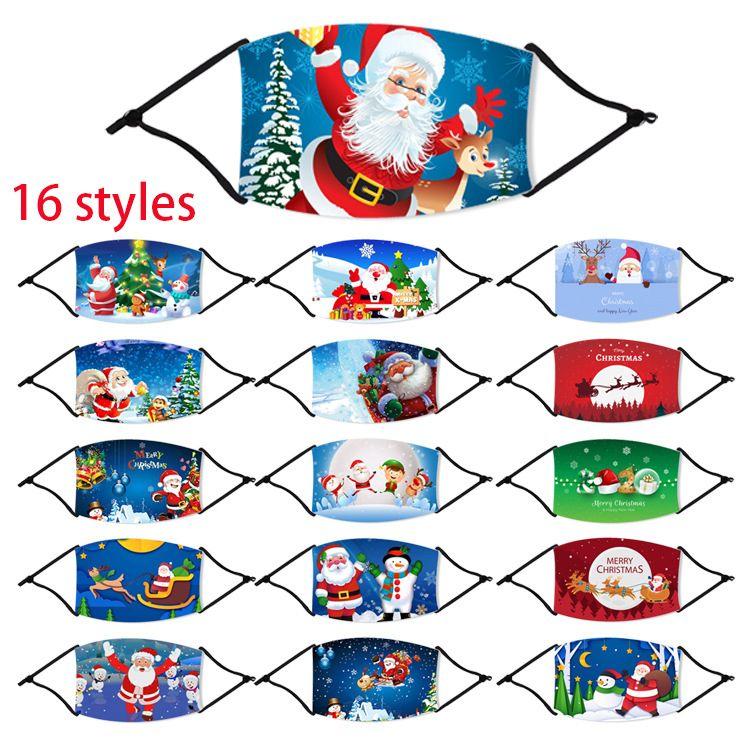 Weihnachten Deer Printed Weihnachten Erwachsenen Gesichtsmasken Antistaub-Schneeflocke-Weihnachts Gesicht Abdeckung Waschbar Wiederverwendbare Mit Filter Partei Masken GWE1687