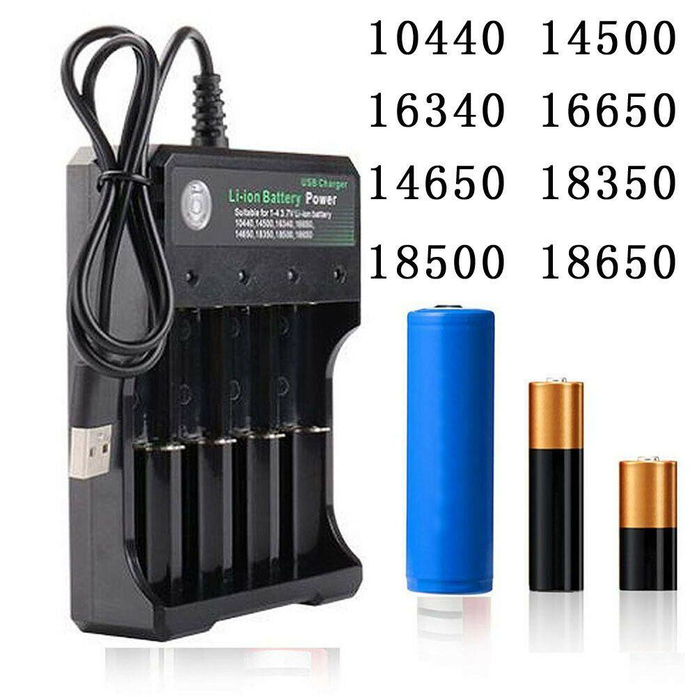 Şarj Edilebilir Li-Ion Pil 4 Yuvaları 18650 14500 Piller USB Şarj Akıllı Şarj 4x 9900mAh 3.7 V 2/3 Yuvası