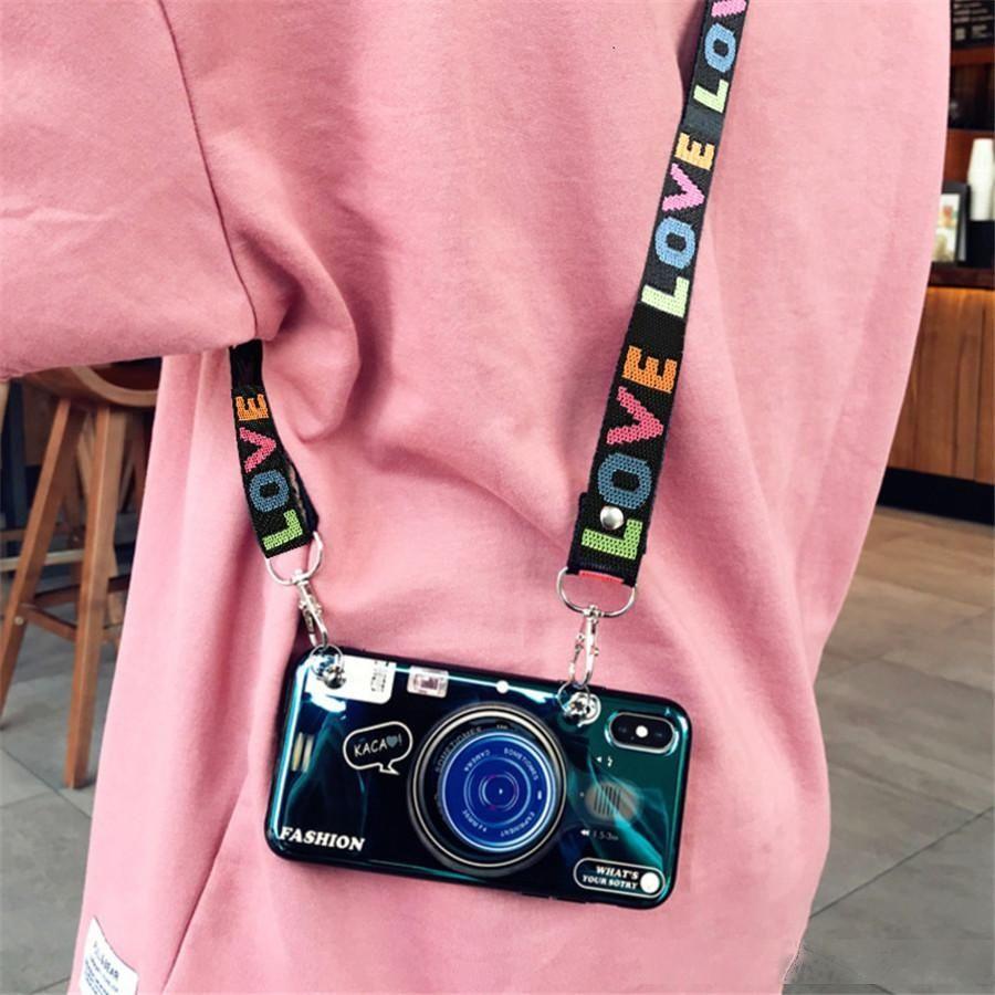 3D ретро строп камеры дизайнер телефон чехол для iPhone 11 про макс случай iphone 11 случай для моды Сложите держатель силикона Iphone 11 про