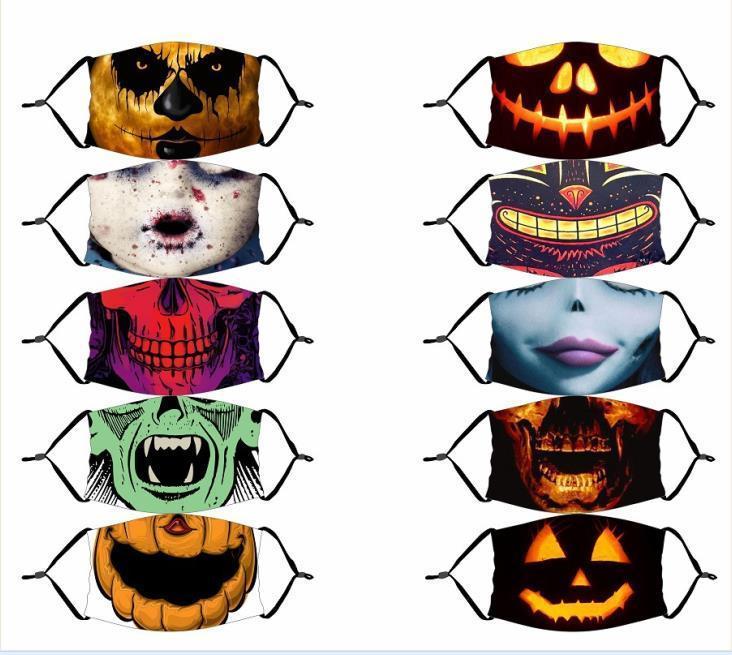 Cadılar Bayramı Yeniden kullanılabilir 3D Kabak Grimace Pamuk Yüz Maskesi Tasarımcı maskeleri Yeniden kullanılabilir PM2.5 Karbon Boyama Maske Yıkanabilir Yetişkin Çocuk Filtreler