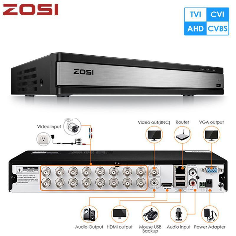 ZOSI 16CH 4-in-1 TVI AHD CVBS CVI 1080P CCTV Video Audiokorder Motherboard DVR für Videoüberwachungssystem DVR-Kit