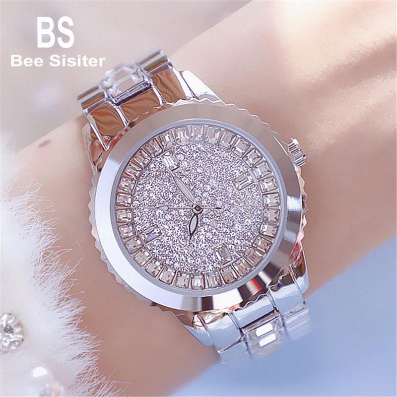 Reloj de plata B abeja de la hermana de la mujer del cristal de reloj del Rhinestone de las señoras del cuarzo del acero inoxidable a prueba de agua reloj de pulsera Montre Femme 0755