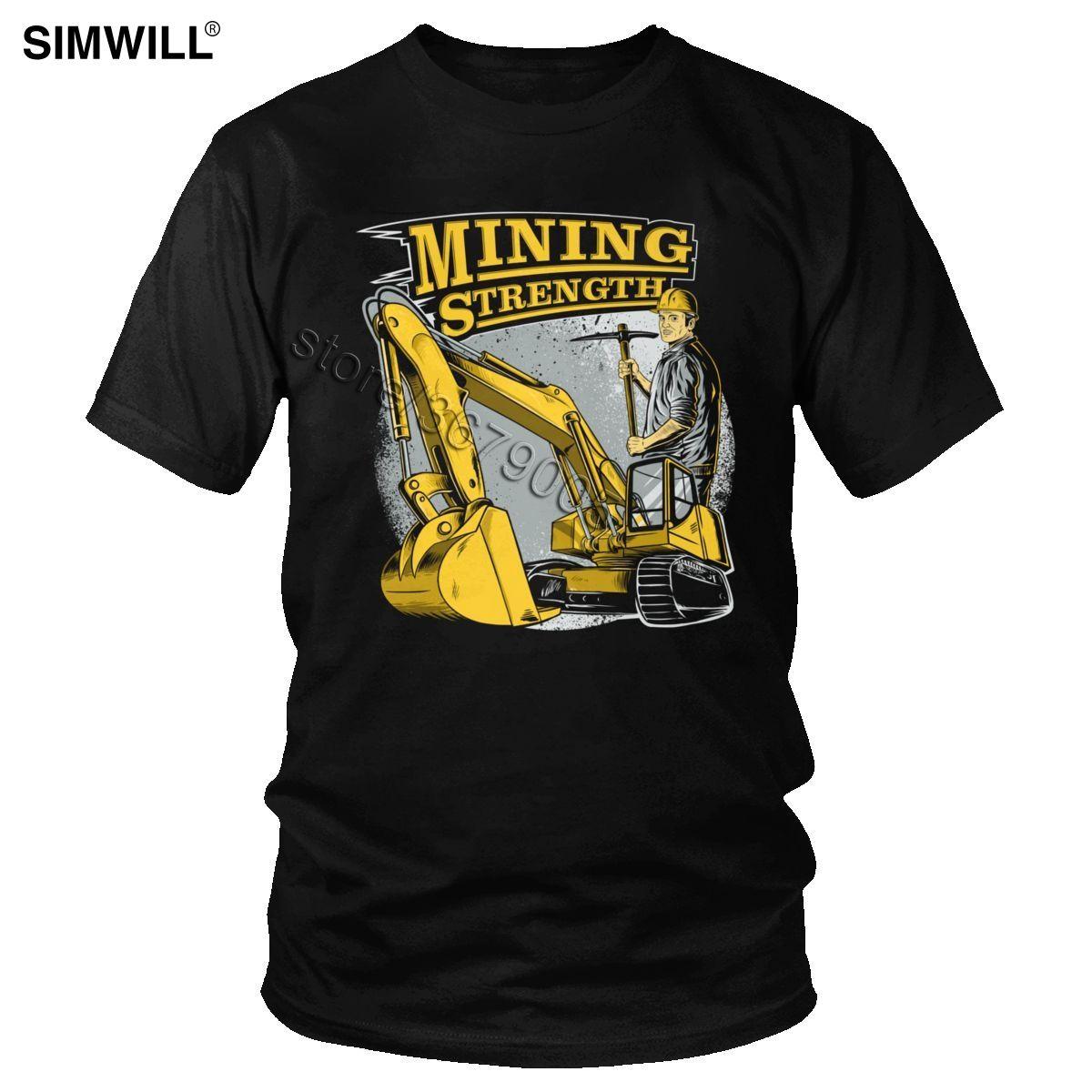Moda Son T Shirt Erkekler Pamuk Madencilik Mukavemet Ekskavatör Tişört Kısa Kollu İş Makineleri Operatörü Tees Clothes yazdır