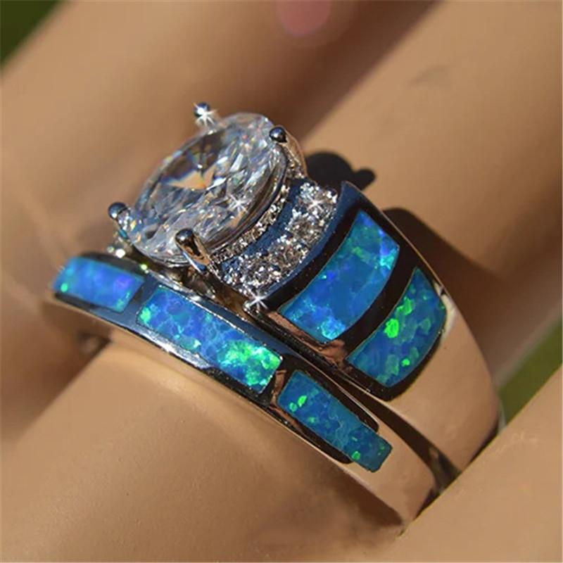 con baño de plata joyas de moda partido de compromiso cristalino claro esmalte banda anillo para las mujeres muchachas de la boda del tamaño regalo US # 5-10