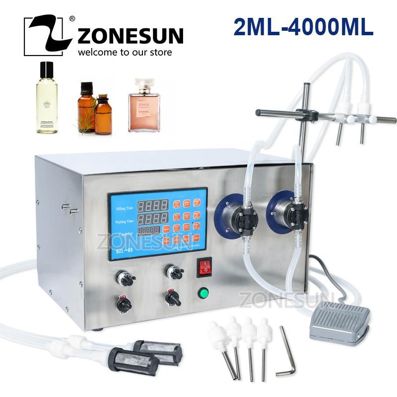 ZONESUN doble cabezal magnético del perfume de la bomba de agua bebida de zumo de aceite esencial eléctrica Liquid Digital Botella Máquina de llenado