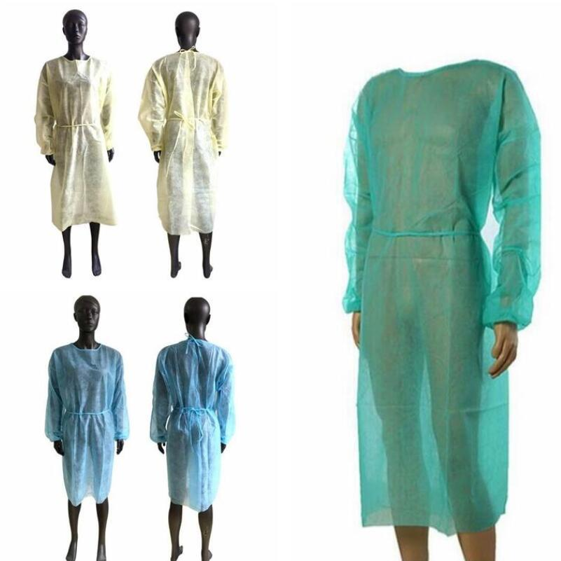 Non-Woven-Schutz-Kleid 3 Farben Unisex Einweg-Schutzschürzen Staubdichtes Schutzkittel Schürze SEEverschiffen CCA12545