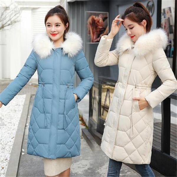 2020 nuovo inverno a metà lunghezza vita collo di pelliccia delle donne vestiti di cotone imbottito delle donne coreane addensato cappotto di modo cotone imbottito giacca parka
