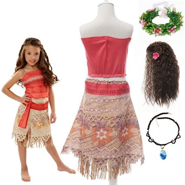 Ocean Adventure Fancy Moana Kostüm für Mädchen Sommer-Strand-Rollenspiel-Partei Prinzessin verkleiden Vaiana Kleid-Kind-Halloween-Kleidung 0923