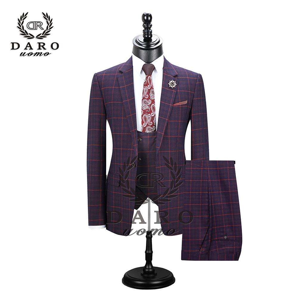 Dar Kesim Günlük tek düğmeyle Moda Izgara Blazer Yan Vent Jacket ve Pant Düğün Parti 200922 için terno DARO Erkek Takım Elbise