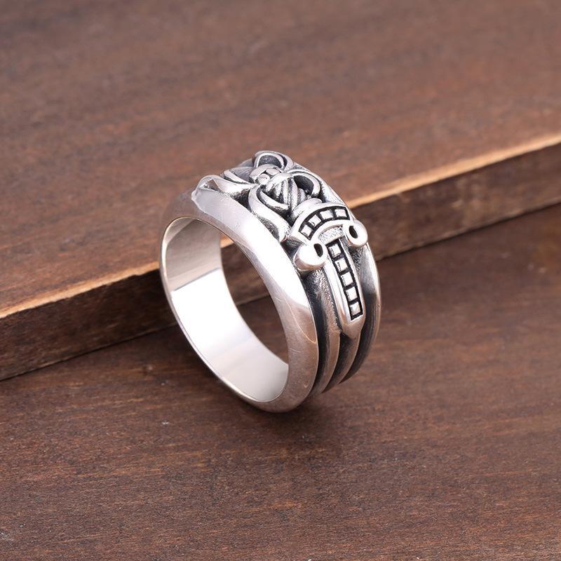 925 fascia d'argento epoca fatti a mano anelli anelli di banda spada progettista d'argento antico per le donne degli uomini Americano Europeo regalo bello stile