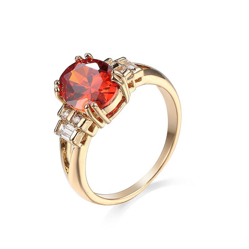 Anillo de compromiso del anillo de piedra rojo de circón de Creative Mujeres