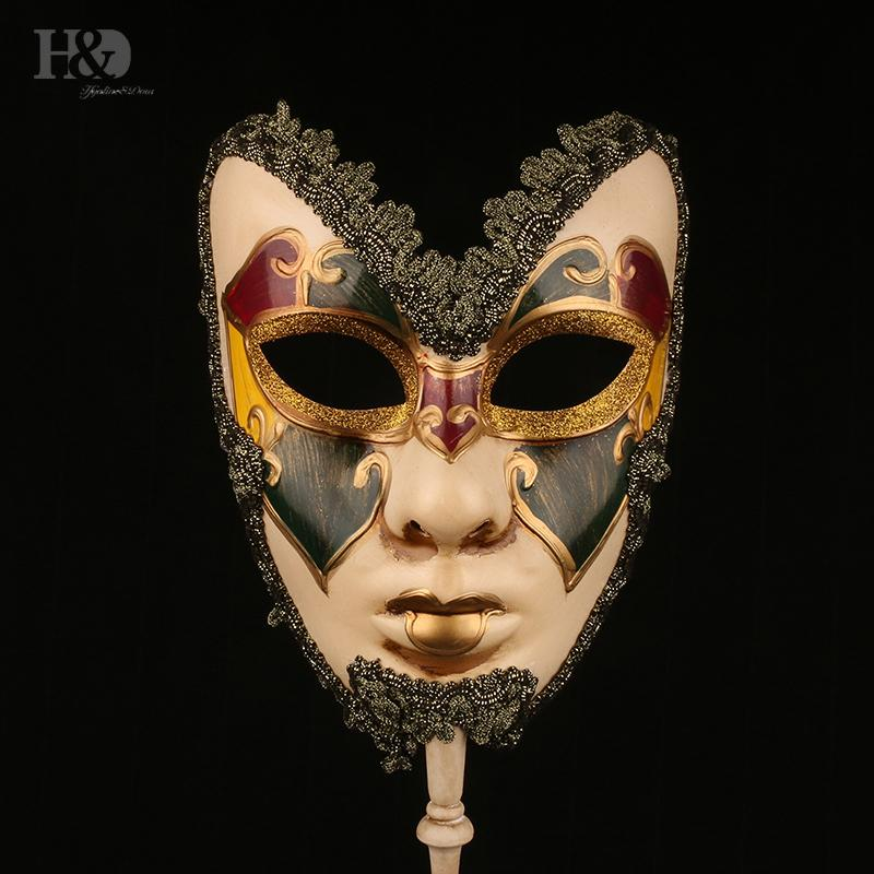 on H&d 6 Kinds Venetian Stick Mardi Gras Mask for Women/men Masquerade Prom Ball Halloween Party Cosplay Favors Y200103