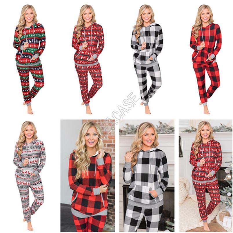 Cep Kazak Kazak Bluz ve Pantolon Giyim Pijama Casual Eşofman 2 Adet Kıyafet D9805 ile 2020 Noel Ekose Elk Hoodie Seti