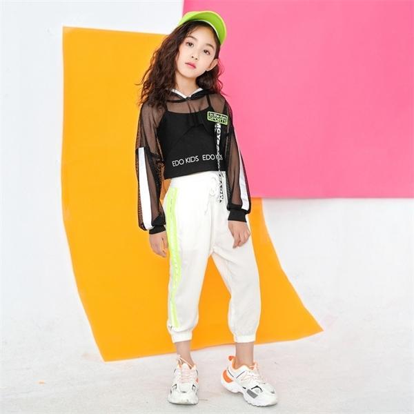 Toddler Girls Oversize Full Sleeve Hoodies Hip Hop Ballroom Jazz Dance Costumes Kids Boy Skirt/trousers Clothing Set Team Wear