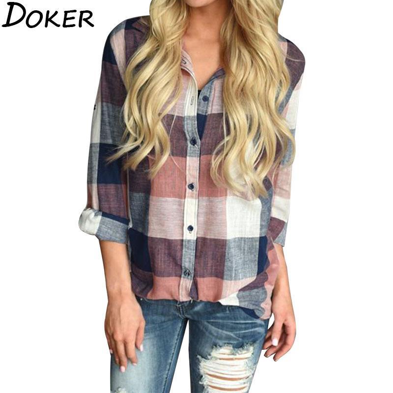 Womens Top tela escocesa más el tamaño de la ropa gira el collar abajo mujer de manga larga Streetwear mujeres tops y blusas 200922