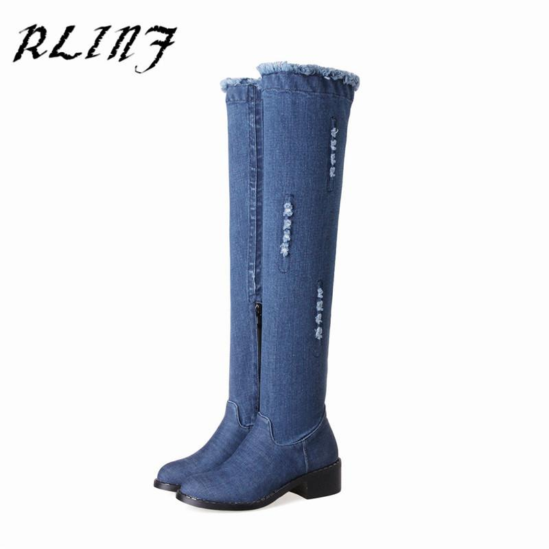 RLINF Long Boots Women's Knee-high Boots Slim High Cowboy Flat with Flat
