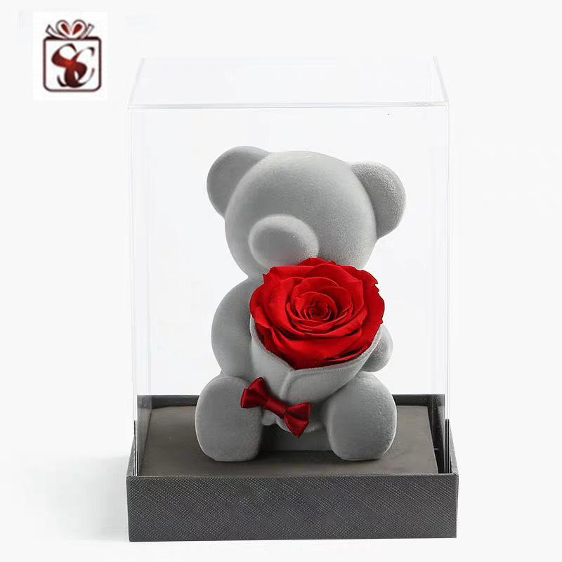 Best Quality Fuzhou Direct Box Packaging Rose Valentine's Day Gift Flocking Doll Bear Outlet