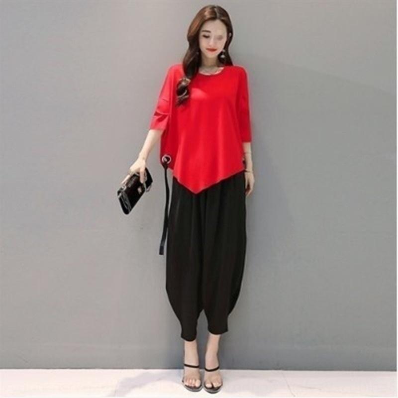 HTnRI 2020 nueva camiseta del estilo del ancho de las mujeres de grasa mm del juego de la camiseta occidental pantalones de pierna primavera y el verano de estilo coreano de la manera floja Rábano pierna ancha