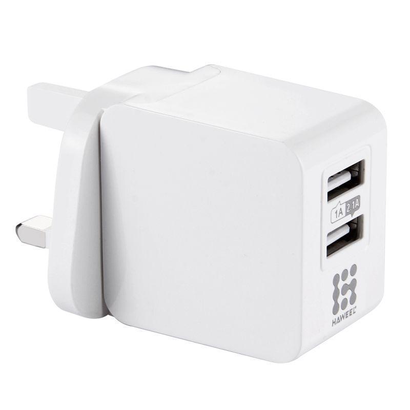 Haweel 2 puertos USB 1a / 2 .1a cargador de viaje enchufe de Reino Unido para Iphone Ipad Galaxy Huawei Xiaomi LG HTC y otros teléfonos inteligentes (blanco)