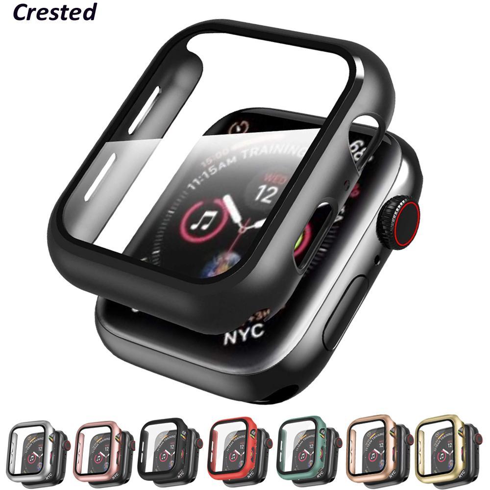 Glas + Abdeckung für Apple-Uhr-Kasten 44mm 40mm 42mm 38mm Zubehör überzog Stoßstange + Screen Protector iWatch Serie 3 4 5 38 40 44 mm