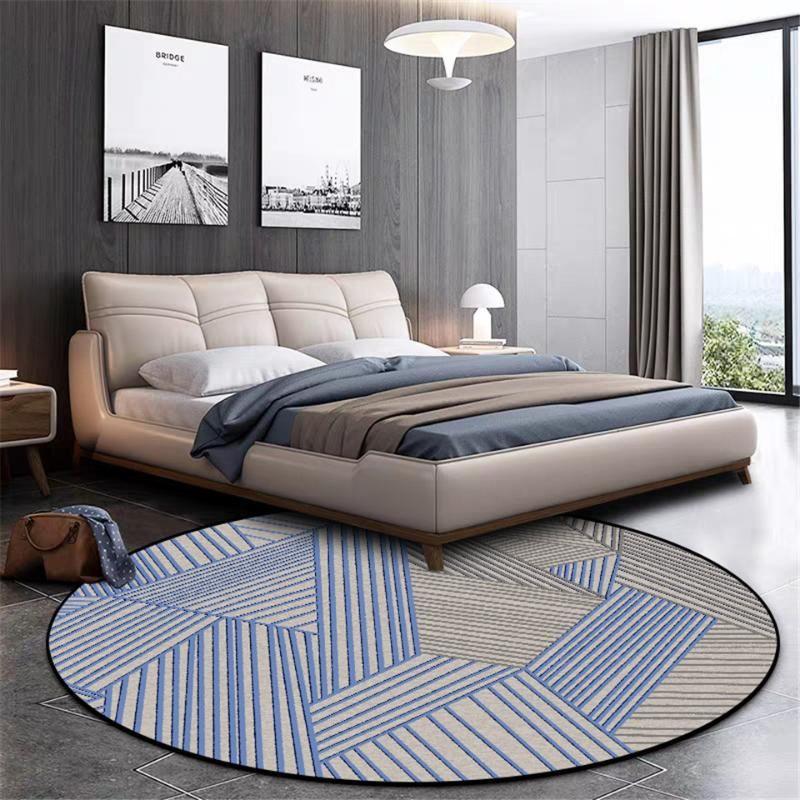 Wishstar Nordic Ковер с голубой Gray Line Print Круглый Ковер Стул Mat Современный простой геометрический ковер для спальни Beside Мат