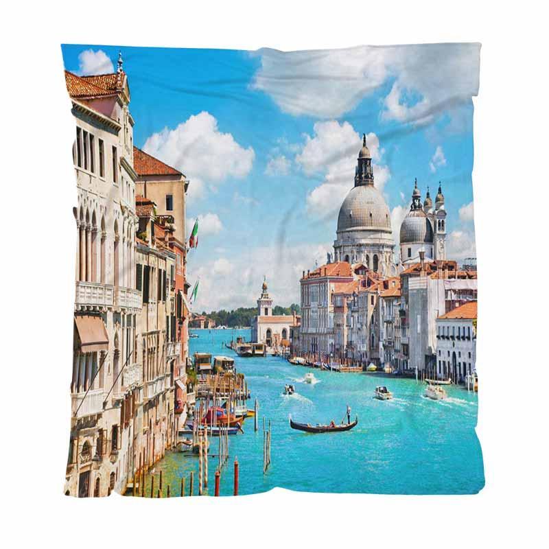 Italia Warm franela paño grueso y suave de toallas Mantas Canal Grande y la Basílica Ligera manta caliente para la cama Sofá Sofá recorrido al aire libre
