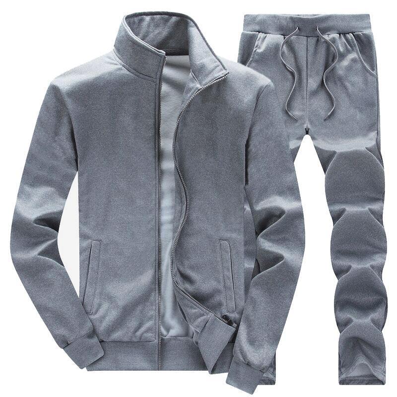 Primavera Outono Homens completa Zip Treino Homens Esporte Define Suits camisola e Pant Sweatsuit por Homem Moda de Nova confortáveis