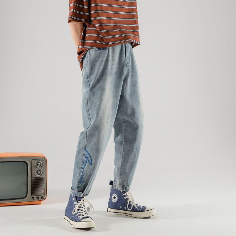 Мужские 2020 новые осенние мужские свободные крюк и петля леггинсы модных случайные Узкие брюки джинсы случайные брюки джинсы bA1P5
