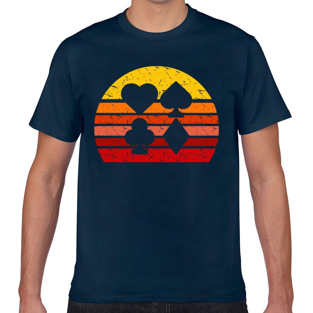 T Shirt Top Simboli Uomini Casinò carte retro dell'annata di disegno della mazza di Kawaii Iscrizioni Geek corto maschile maglietta Xxx