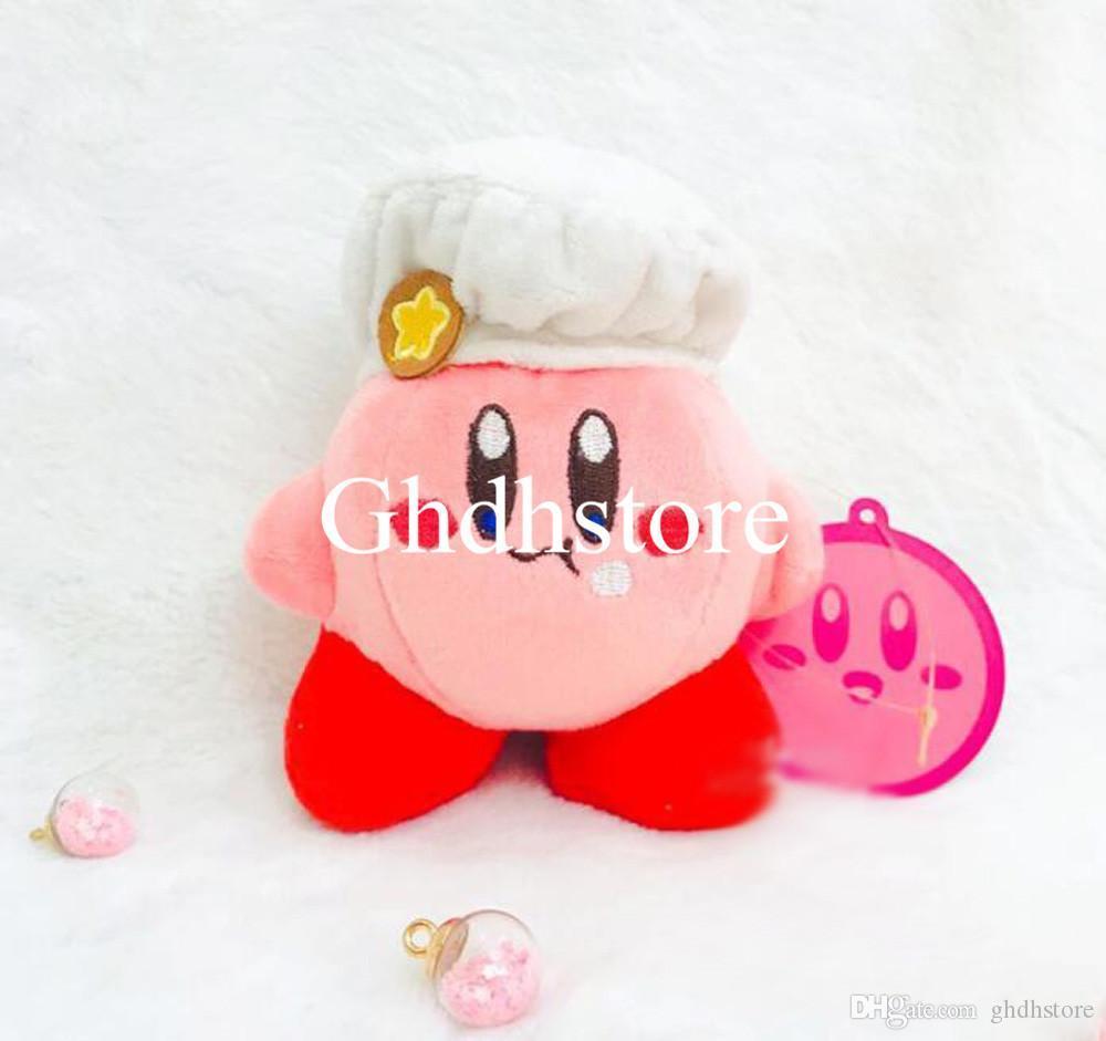 "Top Novos 5"" Presentes 13CM Kirby Dress For cozinheiro Plush Doll Anime Collectible Dolls Chaveiros Pingentes recheadas brinquedos macios"