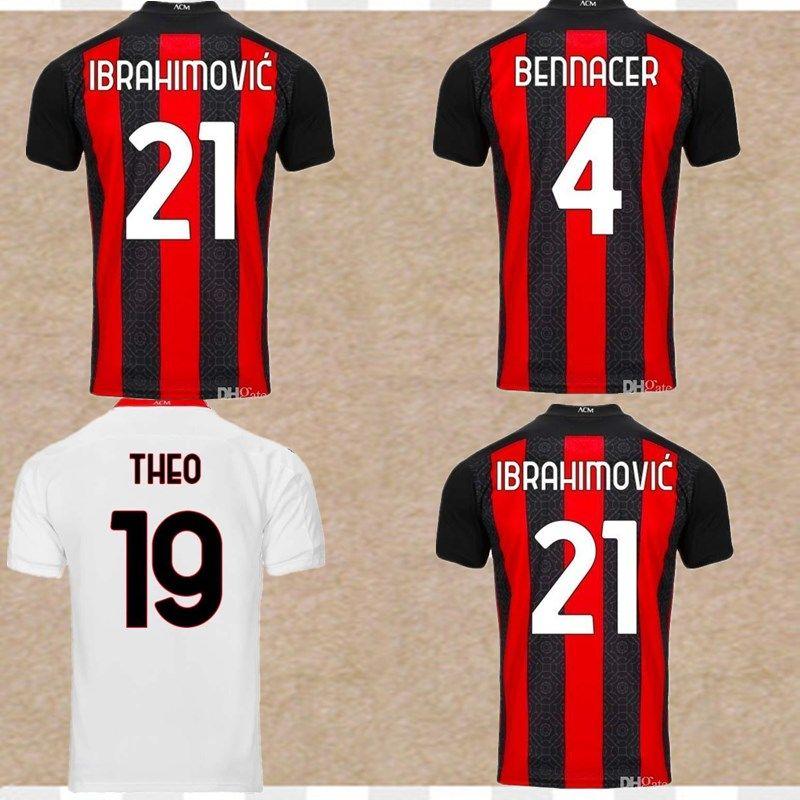 VERSION 21 PLAYER maillot de football AC Milan 2020 2021 IBRAHIMOVIC Paqueta BENNACER REBIC maglia da calcio ROMAGNOLI shirt Calhanoglu de football