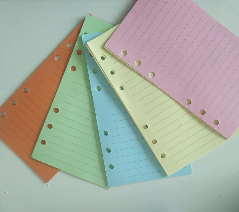 المفكرة 6 حفرة فضفاضة أوراق لون الصفحة الداخلية A6 يد كتاب الاعتبار الصفحة استبدال 5 ألوان 50 ورقة A10